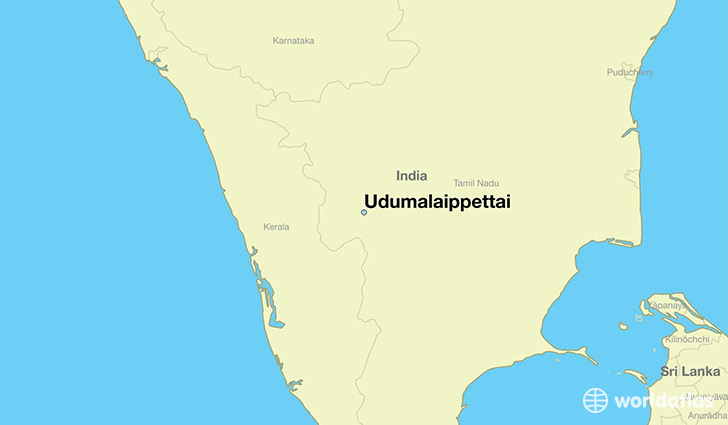 map showing the location of Udumalaippettai