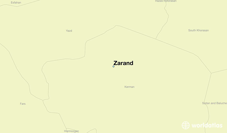 map showing the location of Zarand