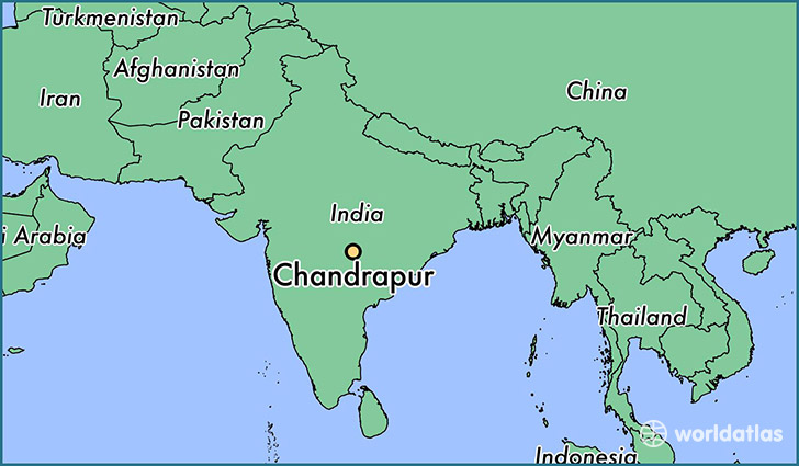 map showing the location of Chandrapur