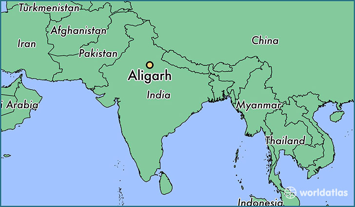 map showing the location of Aligarh