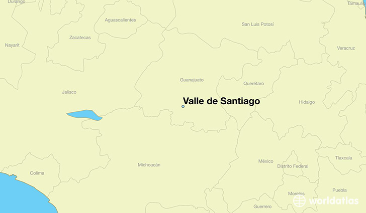 map showing the location of Valle de Santiago