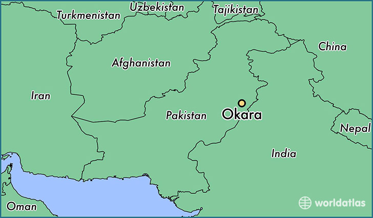map showing the location of Okara