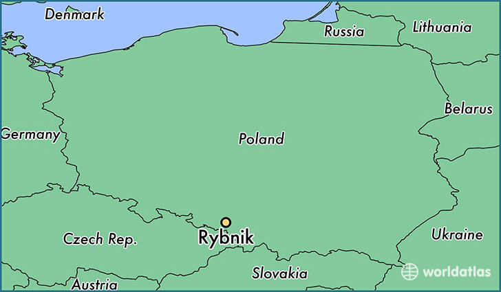 map showing the location of Rybnik