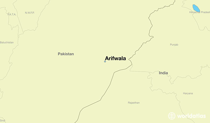 map showing the location of Arifwala