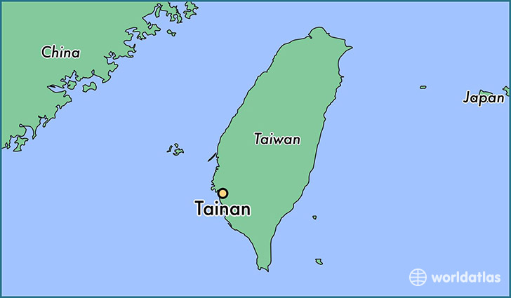 map showing the location of Tainan