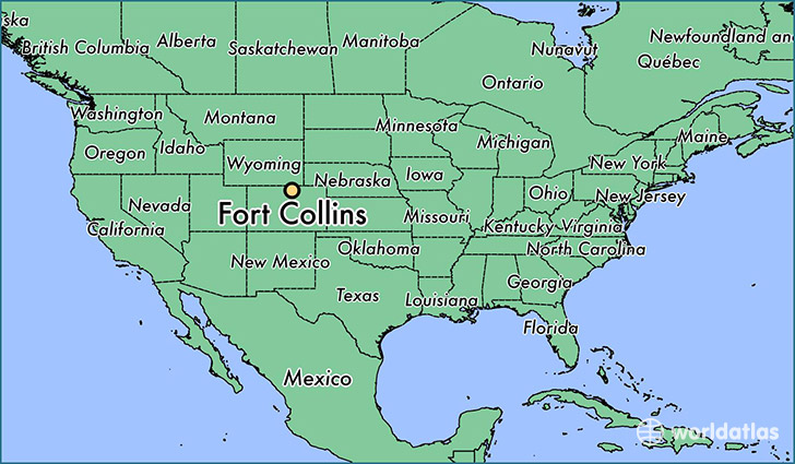 map showing the location of Fort Collins