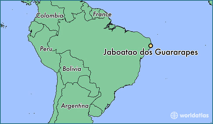 map showing the location of Jaboatao dos Guararapes