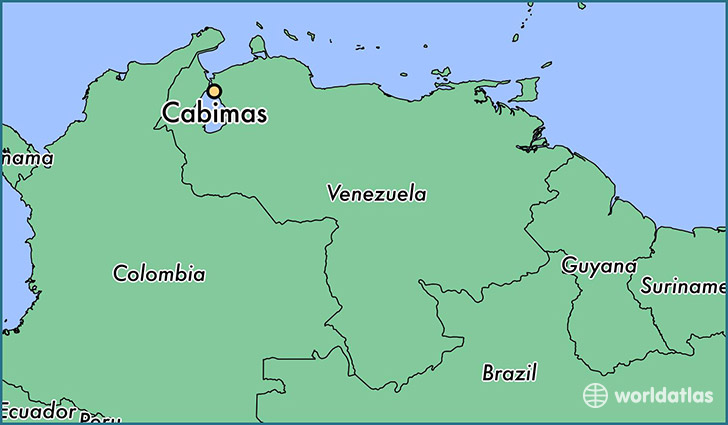 map showing the location of Cabimas