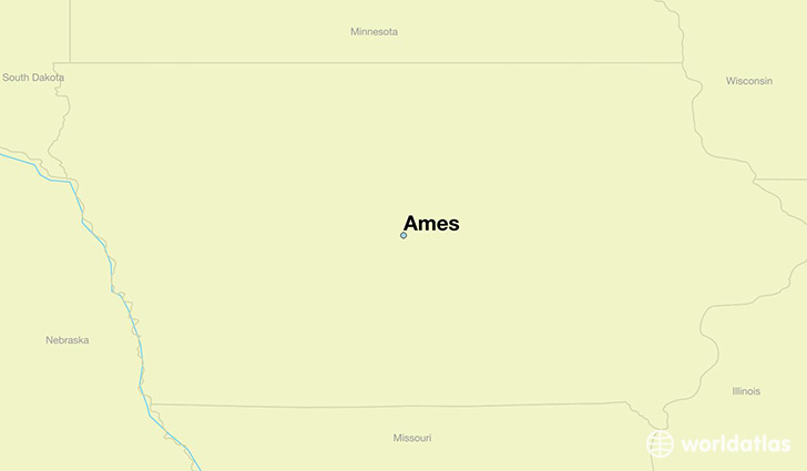 map showing the location of Ames