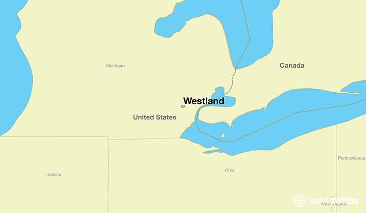 map showing the location of Westland