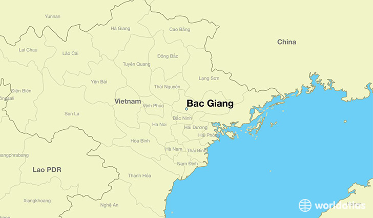map showing the location of Bac Giang