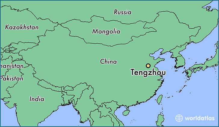map showing the location of Tengzhou