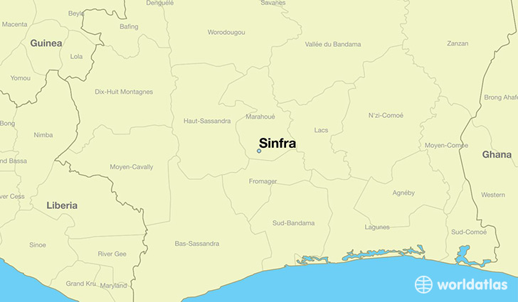 map showing the location of Sinfra