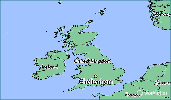 map showing the location of Cheltenham