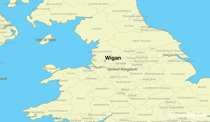 map showing the location of Wigan