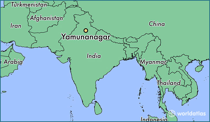 map showing the location of Yamunanagar