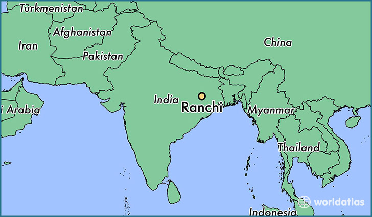 map showing the location of Ranchi