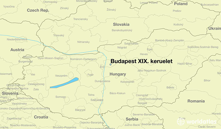 map showing the location of Budapest XIX. keruelet