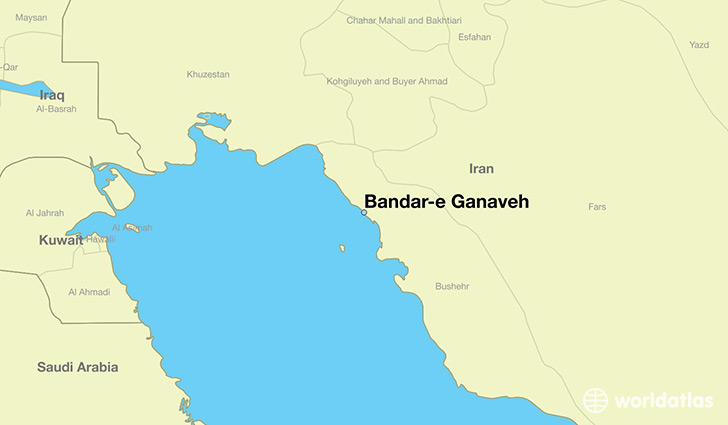 map showing the location of Bandar-e Ganaveh