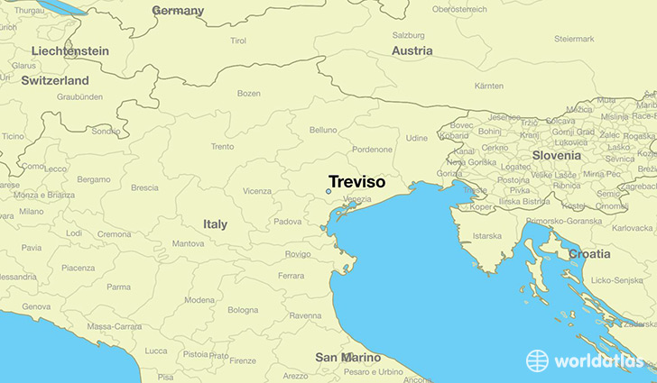 map showing the location of Treviso