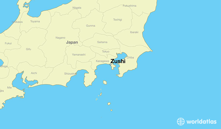 map showing the location of Zushi