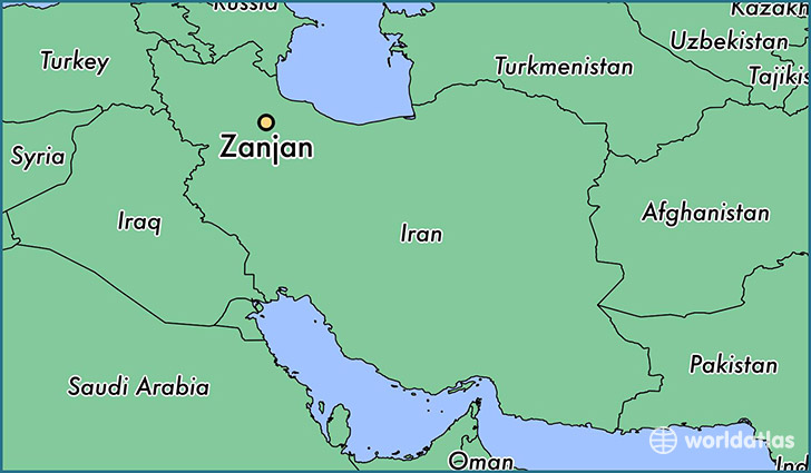 map showing the location of Zanjan
