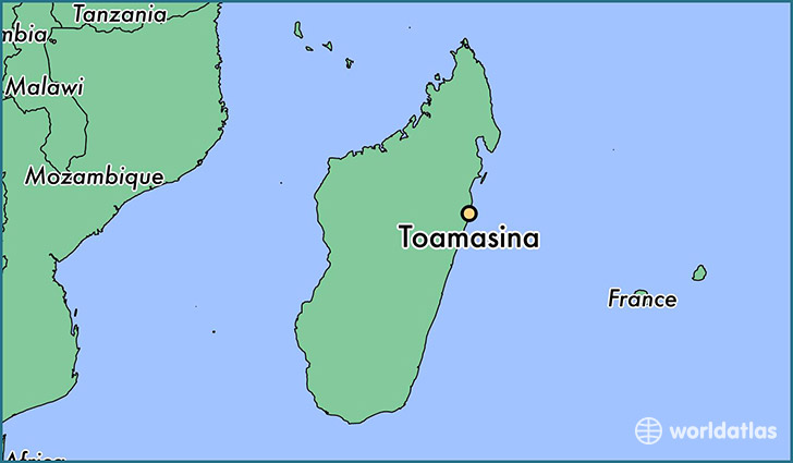 map showing the location of Toamasina
