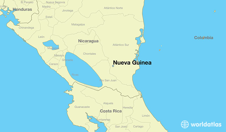 Where is nueva guinea nicaragua nueva guinea atlantico sur map map showing the location of nueva guinea gumiabroncs