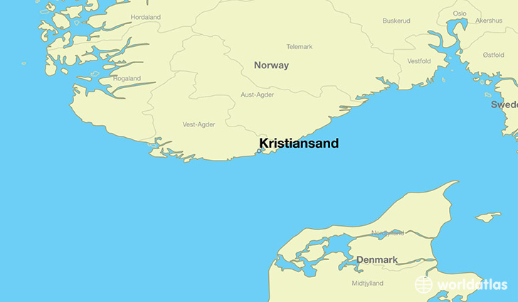 map showing the location of Kristiansand