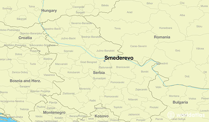 map showing the location of Smederevo