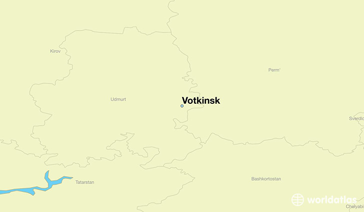 map showing the location of Votkinsk