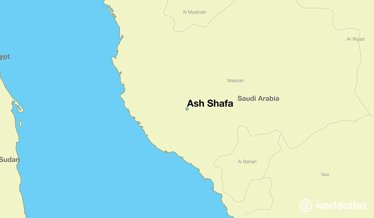 map showing the location of Ash Shafa