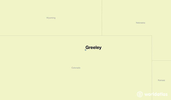map showing the location of Greeley
