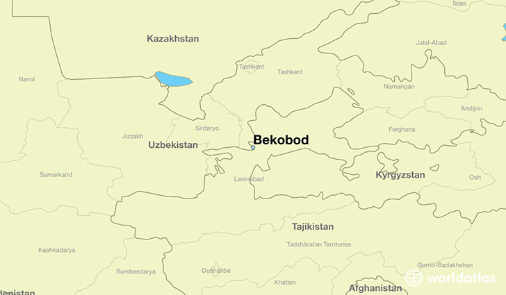 map showing the location of Bekobod
