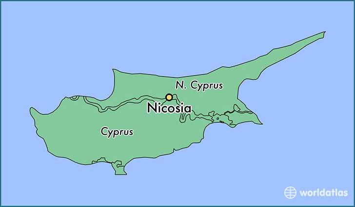 map showing the location of Nicosia