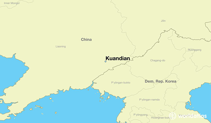 map showing the location of Kuandian