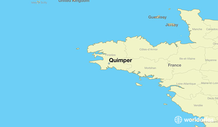 map showing the location of Quimper