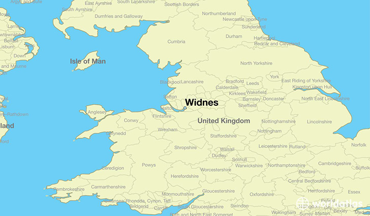 map showing the location of Widnes