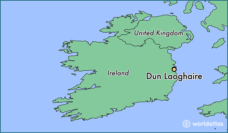 map showing the location of Dun Laoghaire
