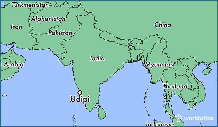 map showing the location of Udipi
