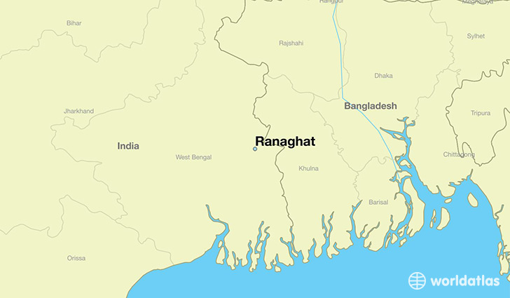 map showing the location of Ranaghat