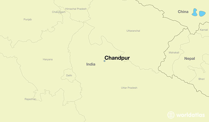 map showing the location of Chandpur