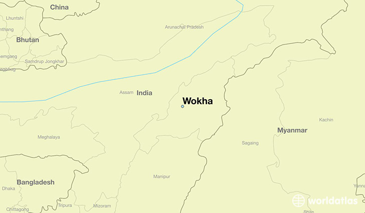 map showing the location of Wokha