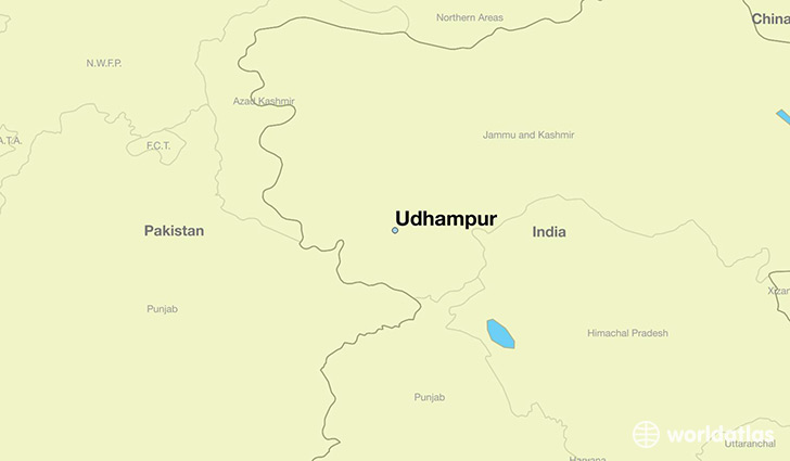 map showing the location of Udhampur