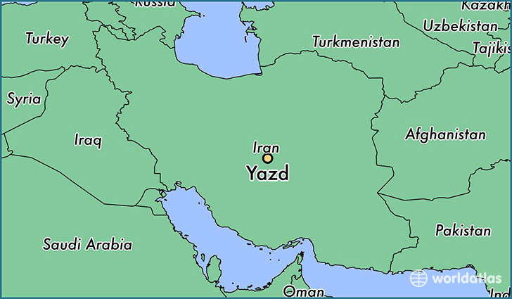 map showing the location of Yazd