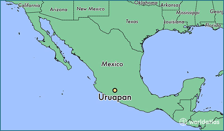 map showing the location of Uruapan