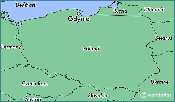 map showing the location of Gdynia