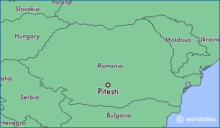map showing the location of Pitesti
