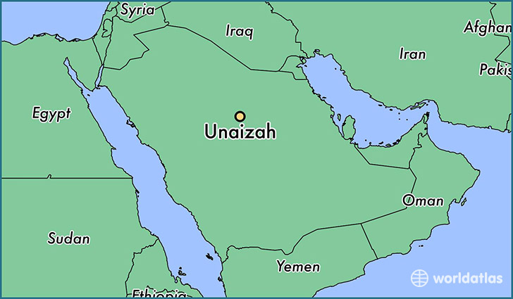 map showing the location of Unaizah