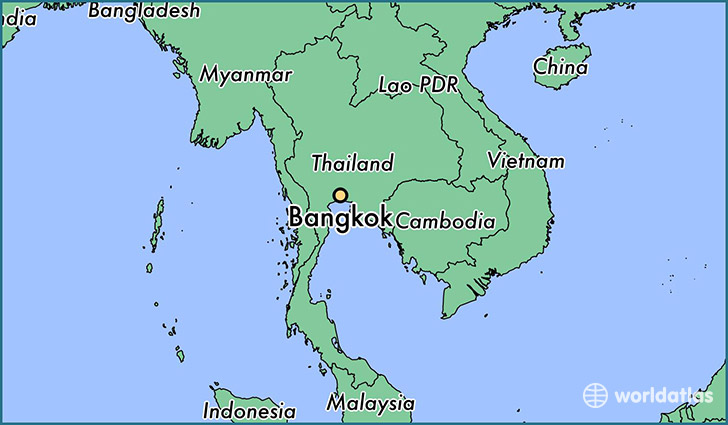 map showing the location of Bangkok